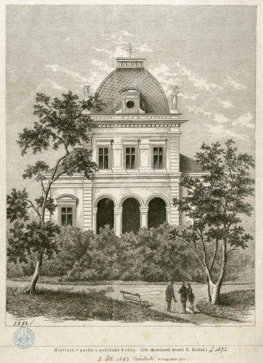 Novostavba kavárenského pavilonu vparku vmístech čerstvě zbořeného pražského opevnění poblíž Poříčské brány vroce 1876. Pročasopis Světozor nakreslil B. Kutina, xylografie.
